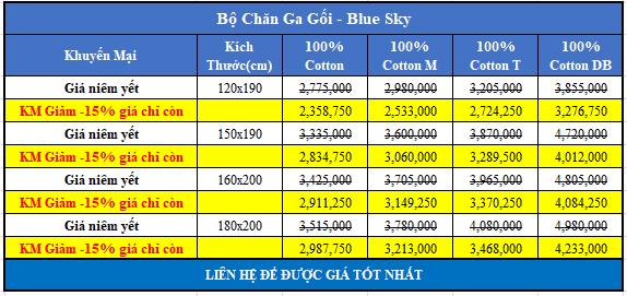 Bảng giá bộ chăn ga gối Hanvico Blue Sky