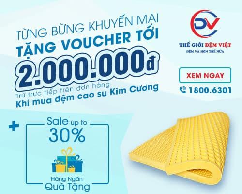 Khuyến mại mua đệm Kim Cương tặng Voucher tới 2 triệu đồng