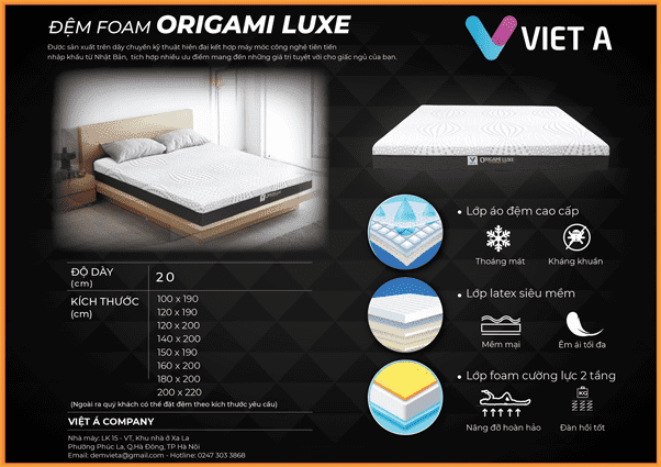 đệm foam việt á origami luxe