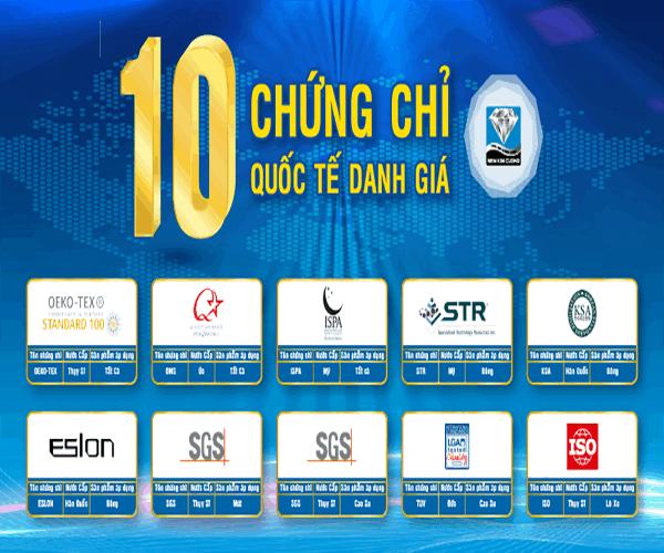 10 chứng chỉ quốc tế của nệm Kim Cương